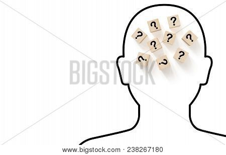 Human Head Drawing Outline Black Color On White Background With Wooden Block Shape And Question Mark