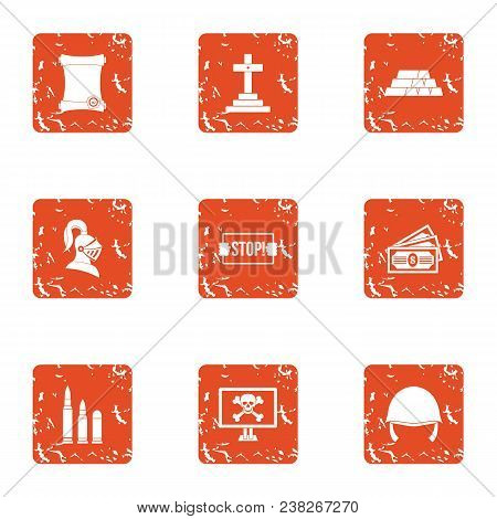 Challenge Icons Set. Grunge Set Of 9 Challenge Vector Icons For Web Isolated On White Background
