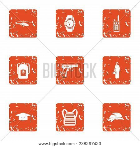 Crime Challenge Icons Set. Grunge Set Of 9 Crime Challenge Vector Icons For Web Isolated On White Ba