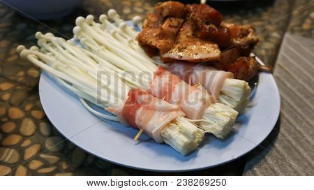 Bacon Wrapped Enoki Or Bacon Wrapped Mushroom And Pork