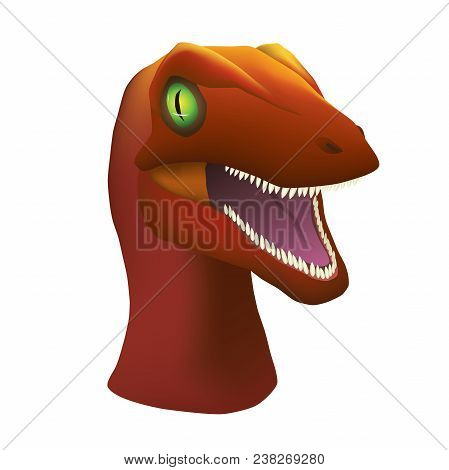 Angry Maroon Velociraptor With Large Green Eyes