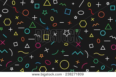 Math Pattern On Black Background. Color Symbol Math.