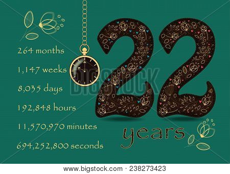 Time Counting Card. Number 22 And Pocket Watch