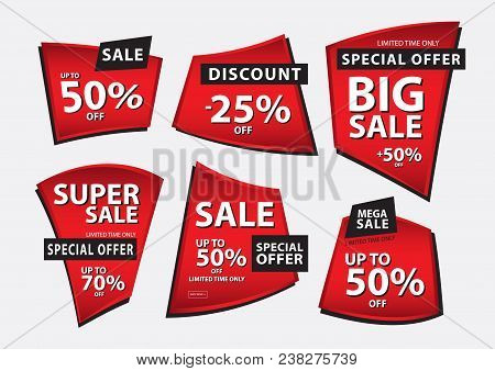 Red Banner Vector, Sale Banner Template, Ribbons Flat Isolated, Labels, Stickers, Tags, Discount, Ic