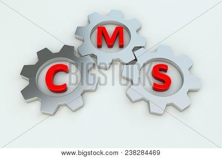 Cms Gear Wheel White Background 3d Illustration