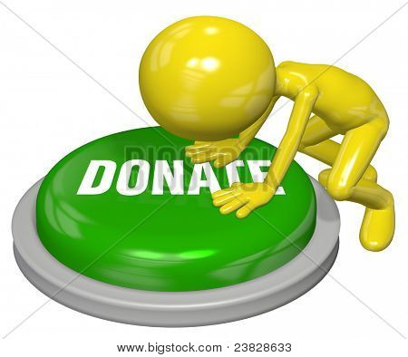 Cartoon person pushes button to DONATE a contribution on a website