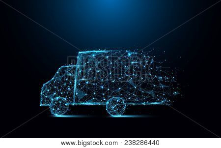 Fast Delivery Truck Icon Form Lines And Triangles, Point Connecting Network On Blue Background. Illu
