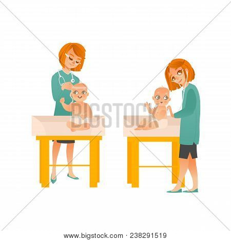 Female Pediatrician Examines Baby On Scheduled Checkup Set Isolated On White Background. Doctor Meas