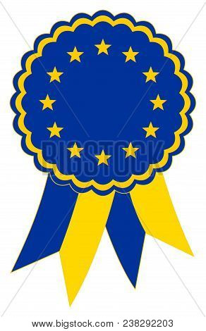 European Flag Award Ribbon Vector In The Original National Colours Blue And Gold. Representing The C