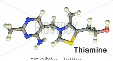 Molecular Model Of Vitamin B1, Thiamine, 3d Illustration. A Vitamin Of B Group With Erythropoietic,