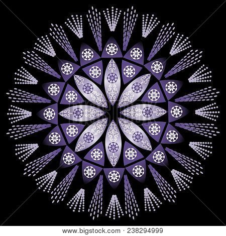 Mystery Mandala In Intensiv Ultra Violet On Black Background. Traditional Circle Patterns. Tool For