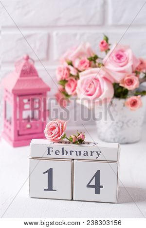 St. Valentine Day Background. Calendar, Tender Pink Roses Flowers And  Pink Lantern Against  White B