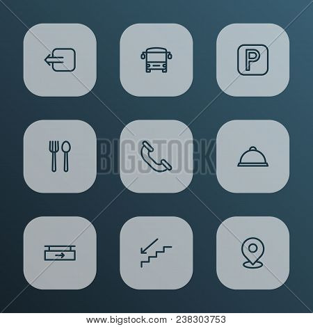 Direction Icons Line Style Set With Parking Sign, Restaurant, Tray And Other Cafe Elements. Isolated