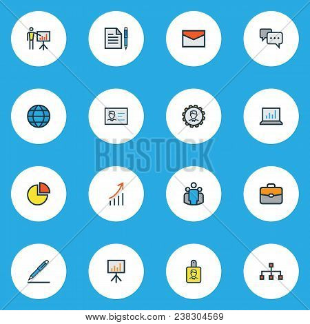 Business Icons Colored Line Set With Growing Stats, Bag, Comment And Other Financial Profit Elements