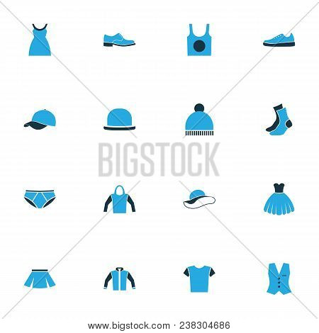 Garment Icons Colored Set With Blouse, Pompom, Dress And Other Vest Elements. Isolated  Illustration