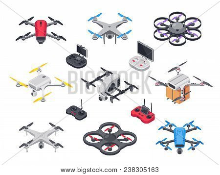 Remote control flying copter with camera. Radio controllers for rotor drone. Unmanned aircraft drones isolated 3d isometric vector set poster