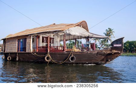 Alleppey, India - November 7, 2016: Tourists On Houseboat Floating On Backwaters In Kerala State, So