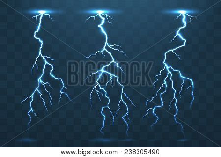 Thunder Bolt And Lightnings, Realistic Thunderstorm Electricity Flash. Electric Blue Glowing  Lightn