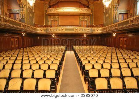 Old Building Auditorium Gold And Velvet Decoration