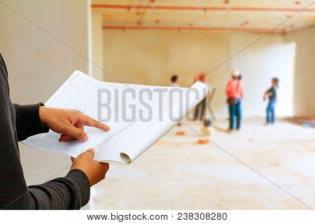 Engineer Finger Point On Paper Plan Blueprint In Check Building Technician Place Construction Site W