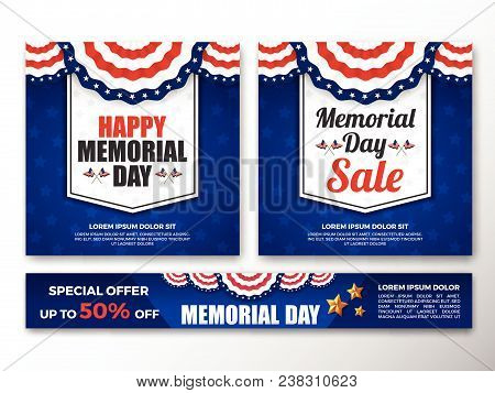 Set Of Usa Memorial Day Background. Usa Flag Banner With Copy Space. Vector Illustration