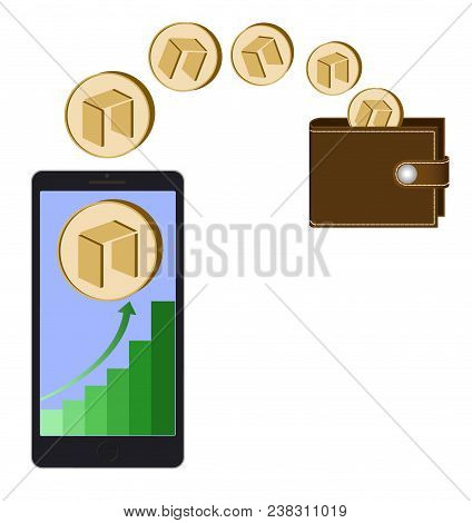 Transfer Neo Coins From Phone In The Wallet On A White Background,growth Diagram With Coin Of Neo On