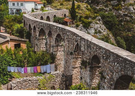 June, 5th, 2016 - Old Bar, Montenegro. Rocks, Ancient Stone Aqueduct And Fortress Wall Of Old Bar An
