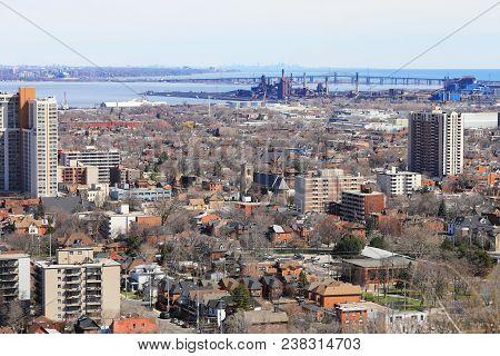 Burlington Skyway From The Niagara Escarpment With Toronto Skyline Behind