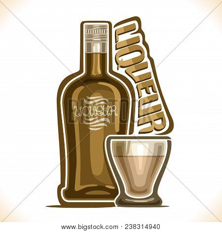 Vector Illustration Of Alcohol Drink Liqueur, Poster With Brown Bottle Of Premium Irish Coffee Sweet