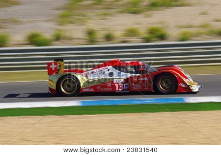 ESTORIL - SEPTEMBER 25: The Toyota Lola B10/60 of the Swiss team Rebellion Racing piloted by Andrea Belicchiin the LMS race