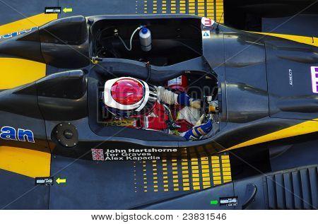 ESTORIL - SEPTEMBER 25: The FLM Oreca 09 of the Neil Garner Motorsport Team, stops in the pit-lane for refueling in the LMS race