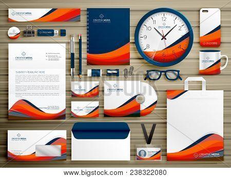 Corporate Identity Business Template Design Set With Orange Blue Wavy Shape