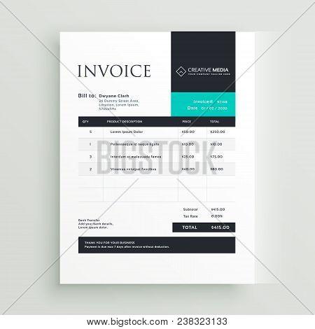 Minimal Business Professional Invoice Template Vector Design