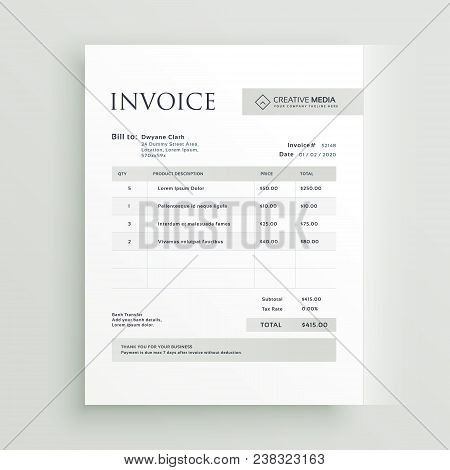 Minimal Invoice Business Form Template Vector Design