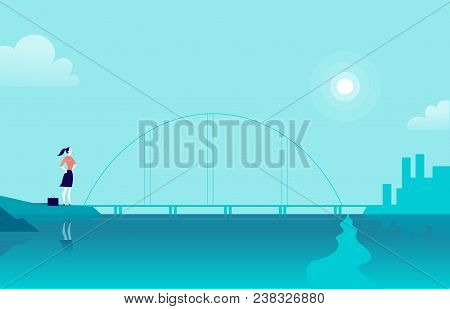 Vector Flat Illustration With Business Lady Standing At Sea Coast Bridge Looking At City On Another