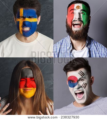 Emotional Soccer Fans With Painted Flags Of Germany, Mexico, Sweden And South Korea On Faces. Rooter