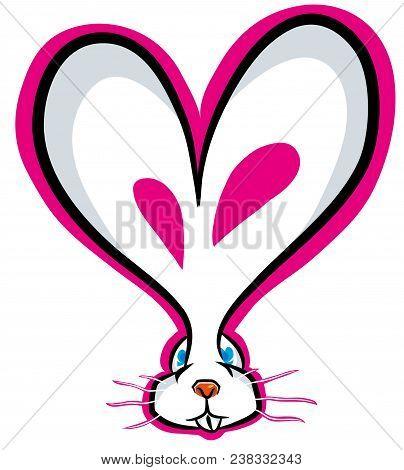 Cartoon  Cute Bunny Ear Shape Of Heart