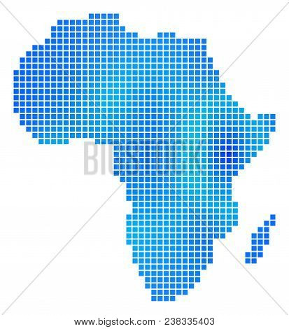 Blue Dot Africa Map. Vector Geographic Map In Cold Blue Color Tinges. Vector Collage Of Africa Map C