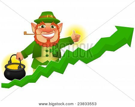 Lucky Leprechaun With Business Prosperity Arrow