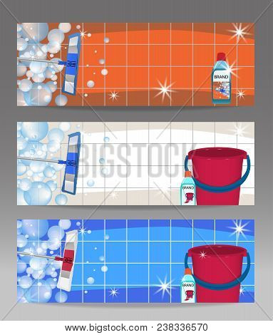Set Banners Mop Cleaning Clean Floor Shiny And Bucket. Disinfectant Cleaner For Washing Floors. Vect