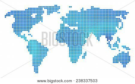 Blue Dot World Map. Vector Geographic Map In Cold Blue Color Variations. Vector Collage Of World Map