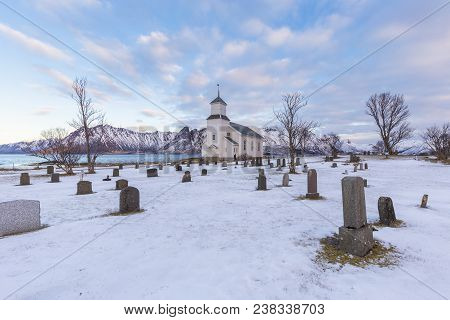 Cemetery Of The Parish Church In Gimsoyaon The North Coast Of Lofoten. Nordland County, Norway