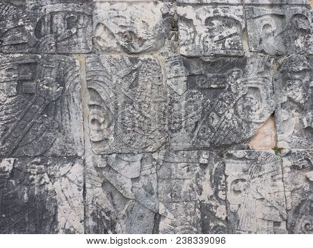 Part Of Ancient Mayan Stony Relief With Pictograph At Ruins Of Chichen Itza City In Mexico, Most Imp