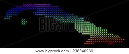 Bright Spectrum Cuba Map. Vector Geographic Map In Bright Spectral Colors With Vertical Gradient On