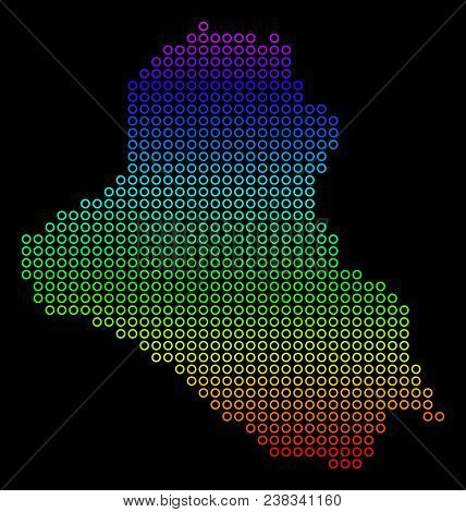 Colored Spectrum Iraq Map. Vector Geographic Map In Bright Rainbow Colors With Vertical Gradient On