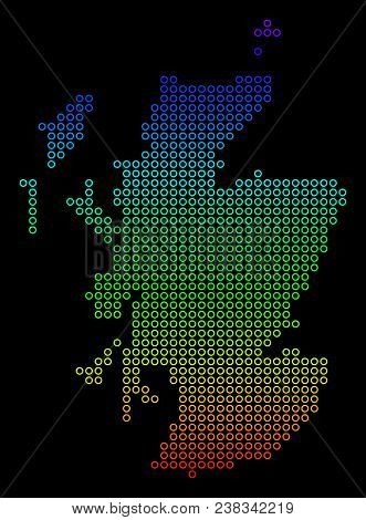Bright Rainbow Scotland Map. Vector Geographic Map In Bright Rainbow Colors With Vertical Gradient O