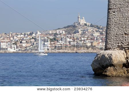 Marseille City Seen From The Sea