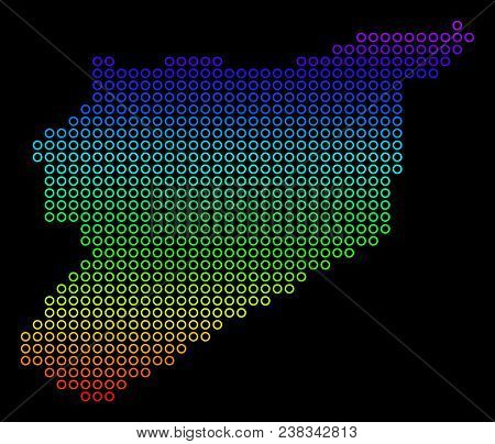Colored Rainbow Syria Map. Vector Geographic Map In Bright Spectral Colors With Vertical Gradient On