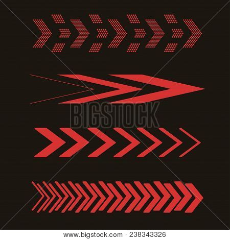 Set Of Red Arrows. Vector Illustration. Sideways Linear Signs Collection