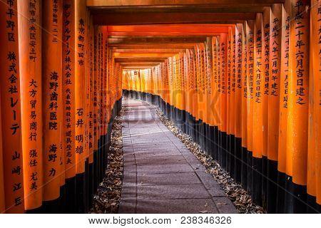 Kyoto, Kansai / Japan - December 9 2017: Zen pathway of Fushimi Inari